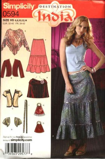 Simplicity Sewing Pattern 0594 4334 0743 Misses Size 6-14 Boho Wardrobe Skirt Jacket Shrug Poncho