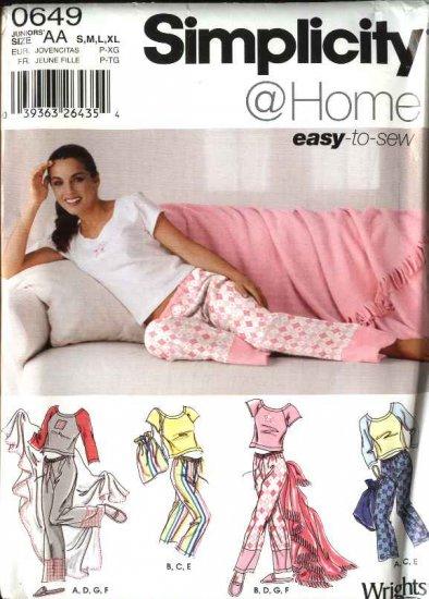 Simplicity Sewing Pattern 0649 5923 Junior Girls Size S-XL Pants Tops Slippers Pajamas Bag Blanket