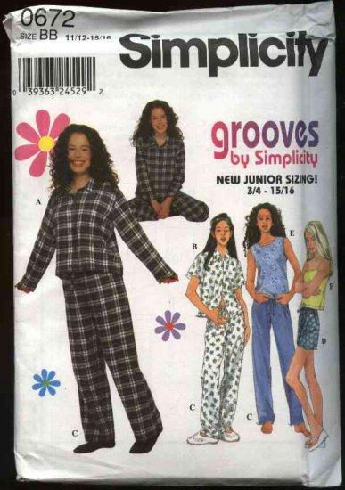 Simplicity Sewing Pattern 0672 Junior sizes 11/12-15/16 Pajamas Tops Pants Shirt