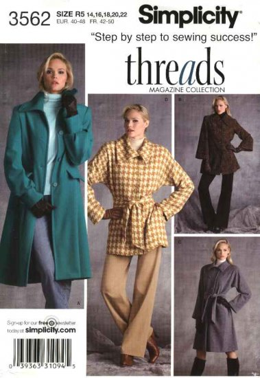Simplicity Sewing Pattern 3562 Misses Size 14-22 Coat Jacket Threads Long Sleeves