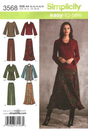 Simplicity Sewing Pattern 3568 Misses Size 10-12-14-16-18 Easy Wardrobe Skirt Pants Top Pullover