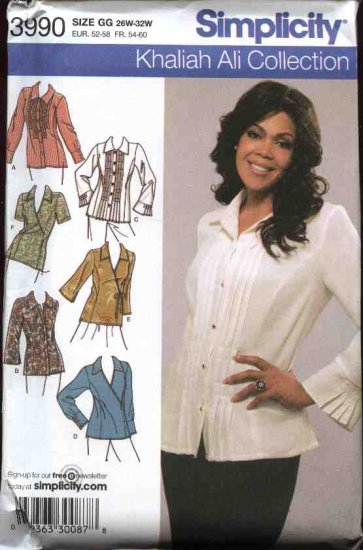 Simplicity Sewing Pattern 3990 Womans Plus Size 18W-20W-22W-24W Blouses Tops Tunics Shirt