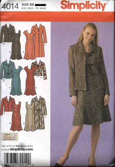 Simplicity Sewing Pattern 4014 Womans Plus Size 20W-28W Princess Seam Dress Long Sleeve Coat Jacket