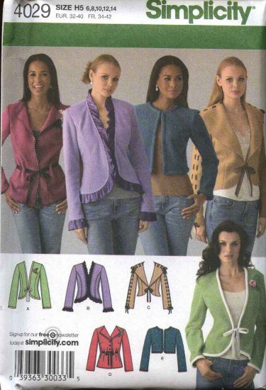 Simplicity Sewing Pattern 4029 Misses Size 6-14 Jackets 5 Styles Long Sleeves