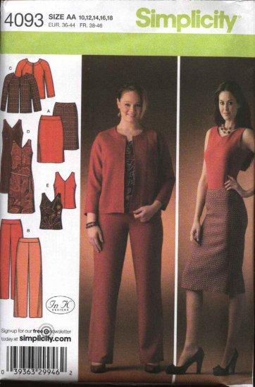 Simplicity Sewing Pattern 4093 Misses Size 10-12-14-16-18 Wardrobe Jacket Skirt Dress Top Pants