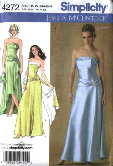 Simplicity Sewing Pattern 4272 Misses Size 16-24 Formal Evening Dress Gown Shawl Purse