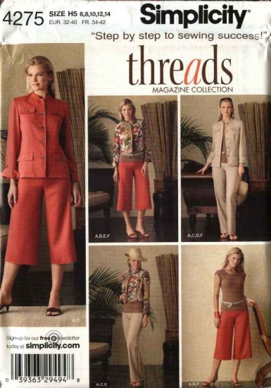 Simplicity Sewing Pattern 4275 Size 6-8-10-12-14 Wardrobe Jacket Pants Knit Top Capris