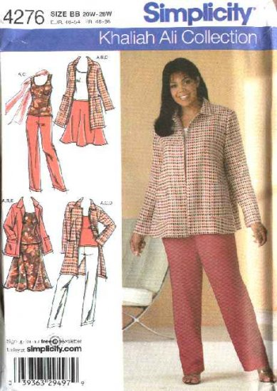 Simplicity Sewing Pattern 4276 Misses Size 10-18 Wardrobe Top Skirt Jacket Pants Coat Khaliah Ali