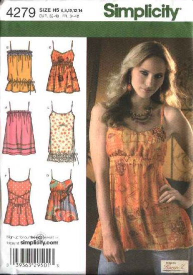Simplicity Sewing Pattern 4279 0589 Misses Size 6-14 Summer Empire Tunics Tops