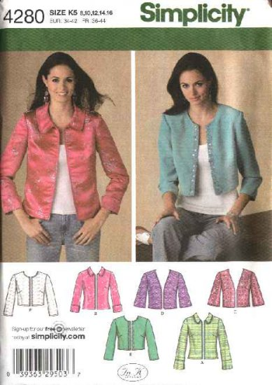 Simplicity Sewing Pattern 4280 Misses Size 8-10-12-14-16 Jackets 6 Styles