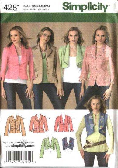 Simplicity Sewing Pattern 4281 Misses Size 6-8-10-12-14 Jackets Vest