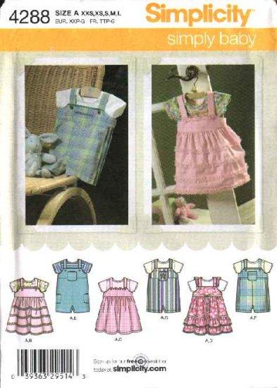 Simplicity Sewing Pattern 4288 Baby Infant Size NB-18 months XXS-L Romper Jumper Onesie