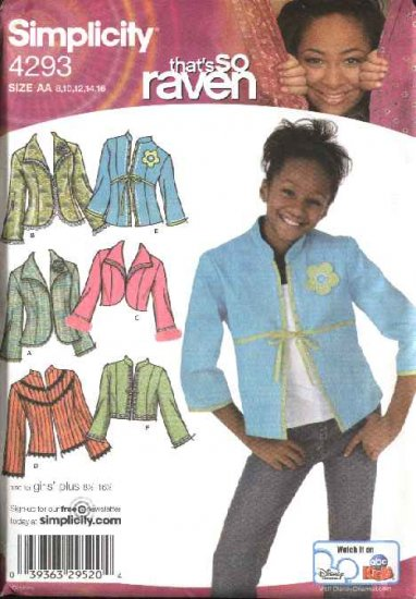 Simplicity Sewing Pattern 4293 Girls Size 8-16  Jacket That's So Raven