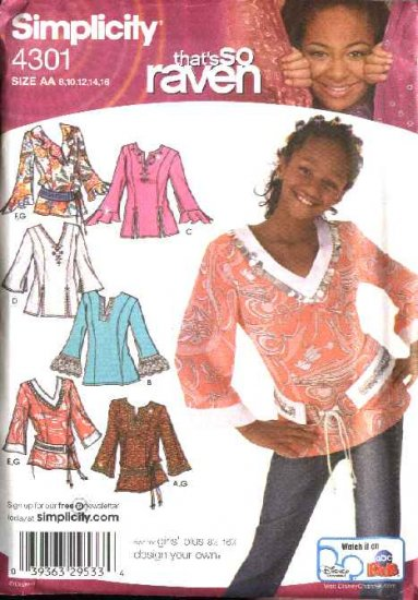 Simplicity Sewing Pattern 4301 Girls Plus Size 8½-16½  Tunic Pullover Top Belt That's So Raven