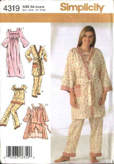 Simplicity Sewing Pattern 4319 Misses Size 6-8-10-12-14-16 Pajama Robe Nightgown Tops Pants Shorts