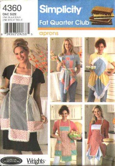 Simplicity Sewing Pattern 4360 Fat Quarter Club Bib Aprons