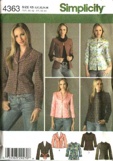 Simplicity Sewing Pattern 4363 Misses Size 14-16-18-20-22 Lined Princess Seam Jacket