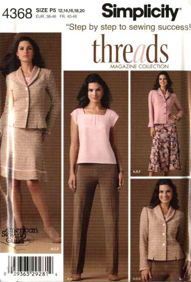 Simplicity Sewing Pattern 4368 Mises Size 12-20 Wardrobe Skirt Pants Top Jacket Threads Magaine