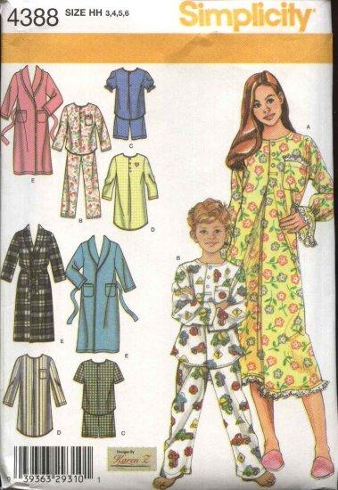 Simplicity Sewing Pattern 4388 Boys Girls Size 3-6 Pajamas Nightgown Bathrobe Robe Tops Pants Shorts
