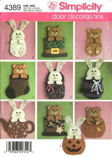 Simplicity Sewing Pattern 4389 Eight Holiday Door Decorations Easter St. Patrick's Day Christmas