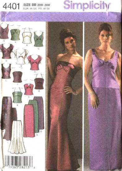 Simplicity Sewing Pattern 4401 Womans Plus Size 20W-28W Formal Top Skirt 2-Piece Dress Evening Gown
