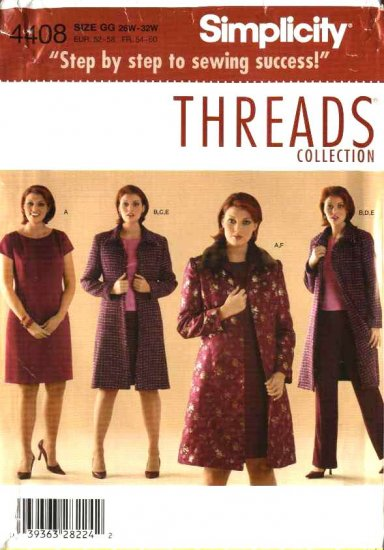 Simplicity Sewing Pattern 4408 Womans Plus Size 18W-24W Wardrobe Dress Top Skirt Coat Pants