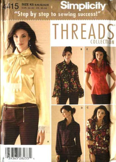Simplicity Sewing Pattern 4415 Misses Size 8-16 Blouse Shirt Top Threads Magazine Collection