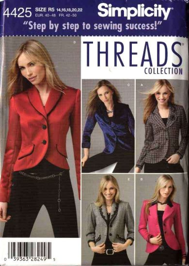 Simplicity Sewing Pattern 4425 Misses Size 14-22 Lined Jacket Threads Magazine Collection