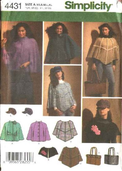 Simplicity Sewing Pattern 4431 Misses Size 6-24 Poncho Capelet Cape Hat Tote Bag Purse