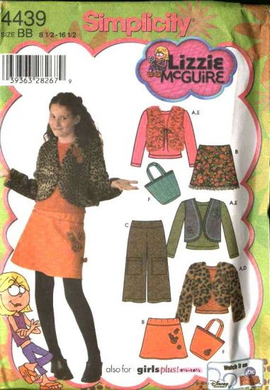 Simplicity Sewing Pattern 4439 Girls Plus Size 8½-16½ Mini-Skirt Vest Top Cropped Pants Jacket Bag