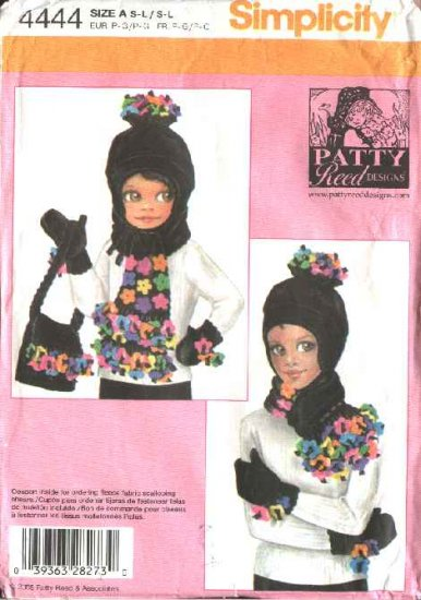 Simplicity Sewing Pattern 4444 Girls S-L Misses S-L  Hat Mittens Scarf Bag
