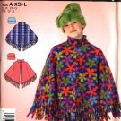 Simplicity Sewing Pattern 4446 Childrens Girls Size 3-16 Fleece Fringed Poncho  Hat
