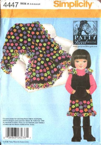 Simplicity Sewing Pattern 4447 Girls Size 3-4-5-6-7-8 Jumper Blanket Patty Reed