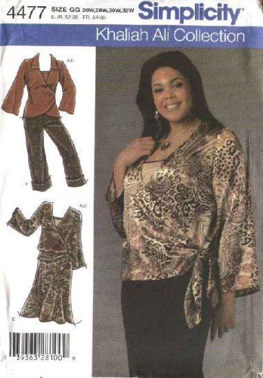 Simplicity Sewing Pattern 4477 Womans Plus Size 26W-32W Wardrobe Top Camisole Skirt Pants