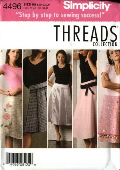 Simplicity Sewing Pattern 4496 Misses Size 6-8-10-12-14 Yoke Flared Gored Trimmed Appliqued Skirts