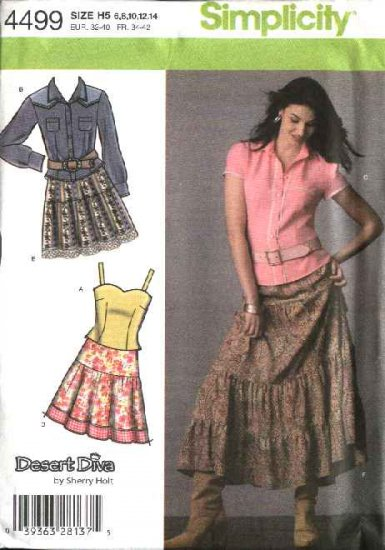 Simplicity Sewing Pattern 4499 Misses Size 14-16-18-20-22 Tiered Skirt Western Shirt Camisole