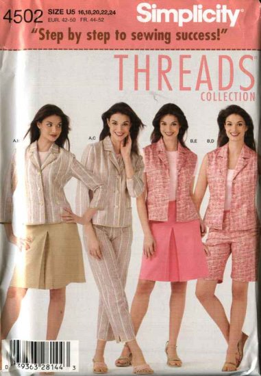Simplicity Sewing Pattern 4502 Misses Size 16-18-22-24 Jacket Pants Skirt Shorts Threads Collection