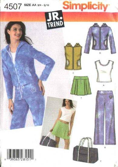 Simplicity Sewing Pattern 4507 Junior Size 11/12-15/16 Wardrobe Top Jacket Skirt Pants Vest Tote Bag