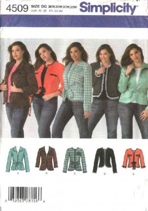 Simplicity Sewing Pattern 4509 Womans Plus Size 18W-20W-22W-24W Lined Jackets