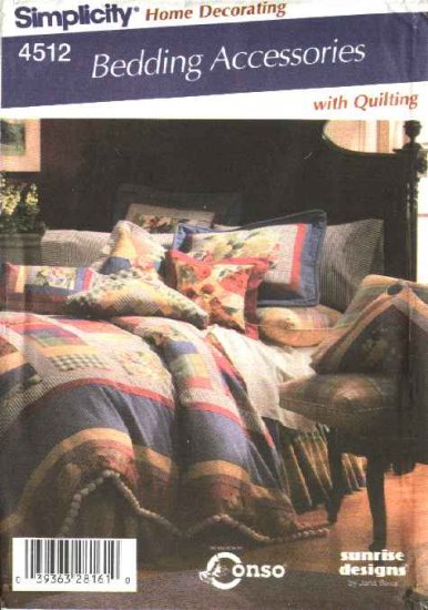 Simplicity Sewing Pattern 4512 Bedding Accessories Quilt Bed Skirt Pillows Shams Cushions