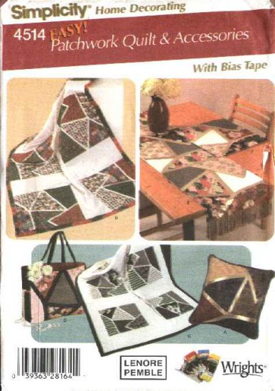 Simplicity Sewing Pattern 4514 Easy Patchwork Quilts Pillow Tote Table runner Place Mat