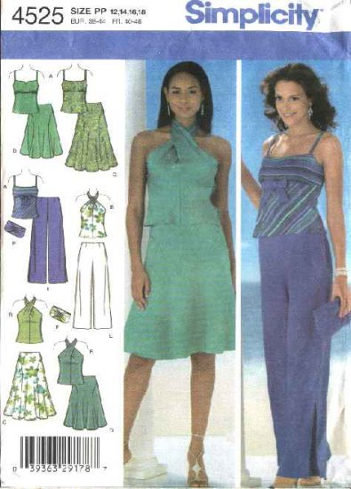 Simplicity Sewing Pattern 4525 Misses Size 12-18 Formal Halter Top Pants Skirt Top Clutch Purse