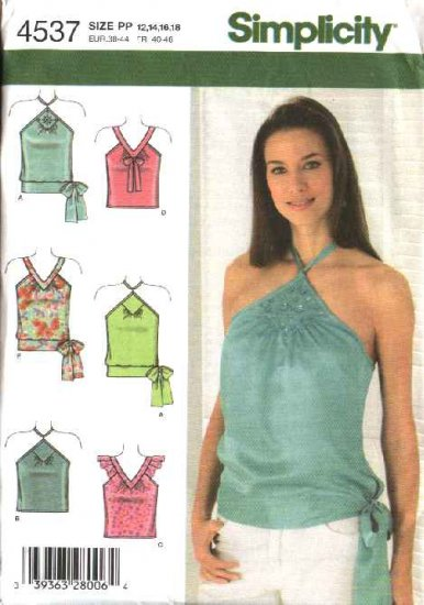 Simplicity Sewing Pattern 4537 Misses Size 12-14-16-18 Halter Pullover Summer Tops