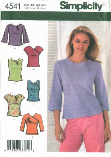Simplicity Sewing Pattern 4541 Misses Size 6-8-10-12 Fashion Knit Woven Tops