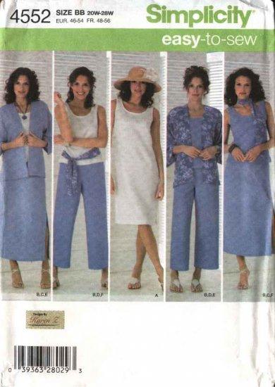 Simplicity Sewing Pattern 4552 Womans Plus Size 20W-28W Wardrobe Skirt Kimono Dress Top Pants