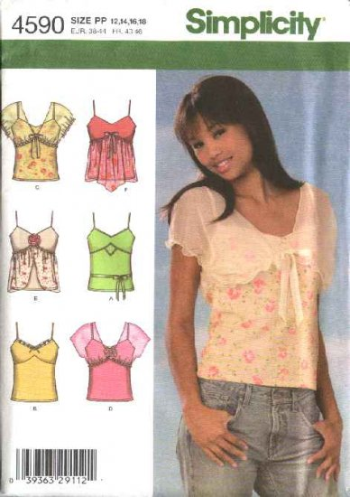 Simplicity Sewing Pattern 4590 Misses Size 12-18 Knit Summer Tops Front Trims Sheer Shrug