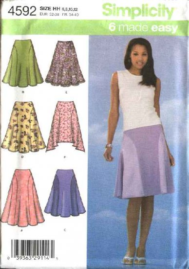 Simplicity Sewing Pattern 4592 Misses Size 14-16-18-20  Flared Seamed Skirts