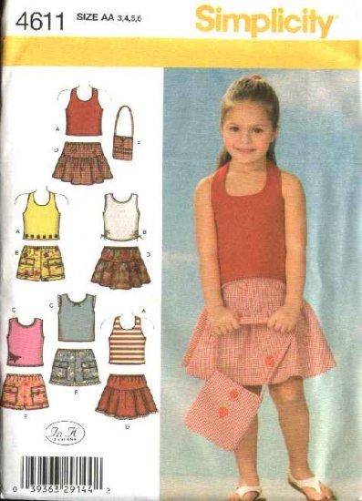 Simplicity Sewing Pattern 4611 Girls Size 3-4-5-6 Shorts Skirts Knit Tops Purse Bag