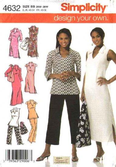 Simplicity Sewing Pattern 4632 Womans Plus Size Size 20W-28W Dress Tunic Pants Bag