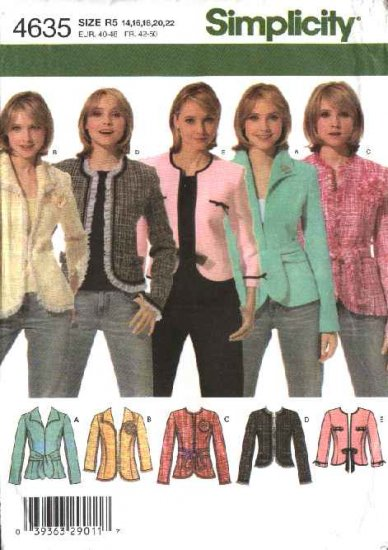 Simplicity Sewing Pattern 4635 Misses Size 14-22 Lined Princess Seam Jacket Belt